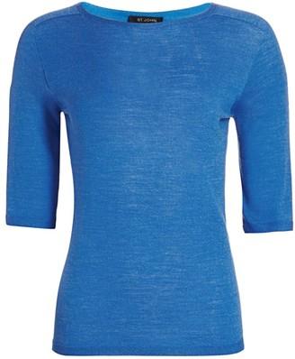 St. John Wool & Silk Knit Elbow-Sleeve Top