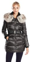 Betsey Johnson Women's Long Puffer Coat with Faux Fur and Belt
