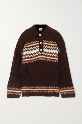 Ganni Crystal-embellished Fair Isle Cable-knit Alpaca-blend Sweater - Dark brown