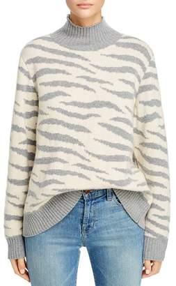 Rebecca Taylor Animal-Jacquard Turtleneck Sweater