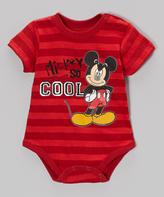 Children's Apparel Network Red Stripe 'Mickey So Cool' Bodysuit - Infant