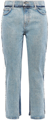 Current/Elliott Frayed Two-tone High-rise Straight-leg Jeans