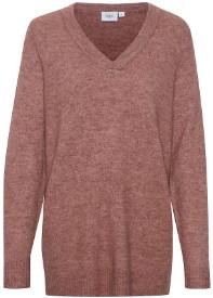 Saint Tropez Knitted V-Neck Pullover in Dusky Rose - S