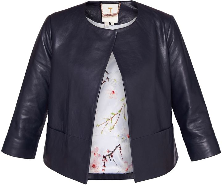 Ted Baker Rennay Leather Collarless Jacket