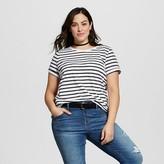 Ava & Viv Women's Plus Size Striped Crew Neck Tee