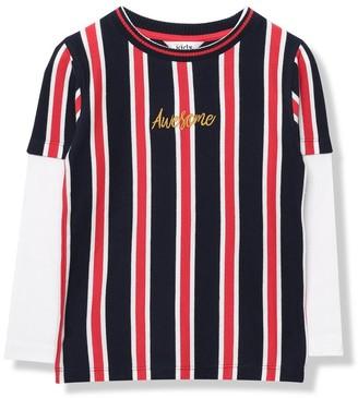 M&Co Awesome slogan stripe t-shirt (9mths-5yrs)