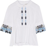 Peter Pilotto Lace-trimmed Stretch Cotton-blend Poplin Peplum Top - White