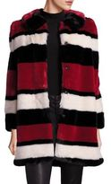 Alice + Olivia Kinsley Faux Fur Striped Coat