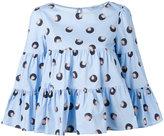 Blumarine Printed tiered blouse - women - Cotton/Spandex/Elastane - 38