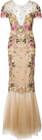 Marchesa floral embroidery fitted gown