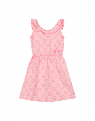 Moschino Teddy Bear All Over Embroidery Dress Woman Pink Size 4a It - (4y Us)