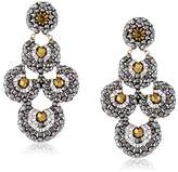 Miguel Ases Pyrite and Swarovski Bead Scalloped Drop Earrings