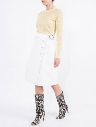 Fendi Jacquard Knit Ff Logo Sweater Yellow