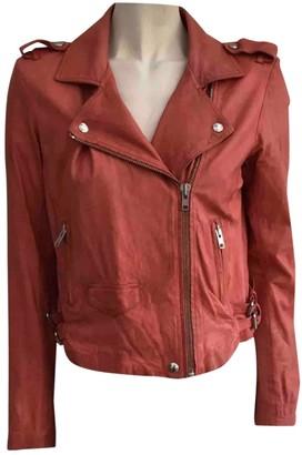 IRO Orange Leather Jacket for Women