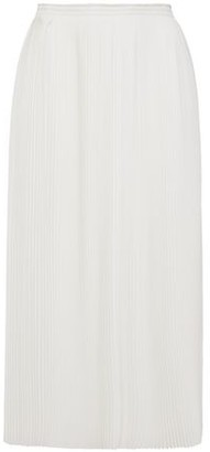 Nina Ricci Pleated Textured-crepe Midi Skirt