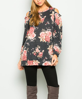 Sweet Pea Charcoal Floral Cold-Shoulder Tunic