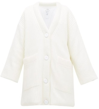 MM6 MAISON MARGIELA Rib-knit Padded Wool-blend Cardigan - Womens - Ivory