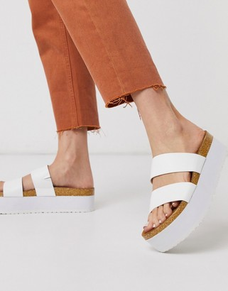 ASOS DESIGN Fiery chunky double strap mule sandals in white