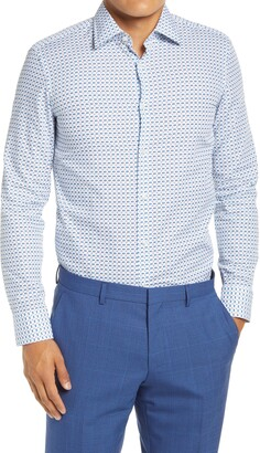 HUGO BOSS Slim Fit Geo Print Dress Shirt