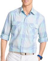 Izod Surfcaster Long-Sleeve Woven Poplin Button-Front Shirt