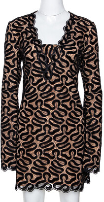 Stella McCartney Black Ribbon Lace Patterned Shift Dress S