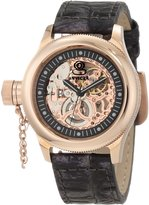 Invicta Women's Russian Diver Mechanical Skeletonized See Thru Rose Gold Dial Pearl Tone Genuine Leather