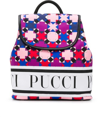Emilio Pucci Junior Mosaic-Print Logo Backpack