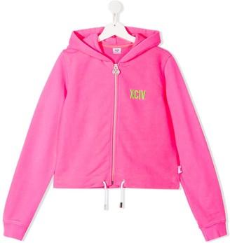 Gcds Kids TEEN cropped logo hoodie