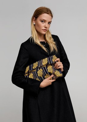 MANGO Floral embroidery clutch black - One size - Women