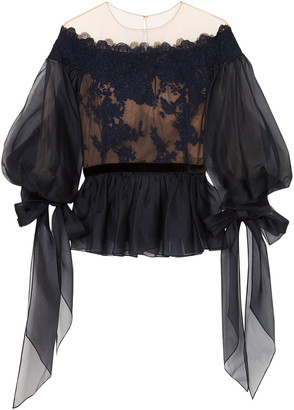 Marchesa Corded Lace-appliqued Tulle And Organza Peplum Blouse