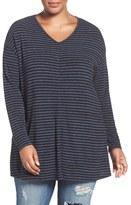 Sejour Plus Size Women's Stripe Knit Tunic
