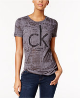 Calvin Klein Jeans Flocked-Print Logo T-Shirt
