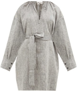 ASCENO Santorini Belted Linen Mini Dress - Grey