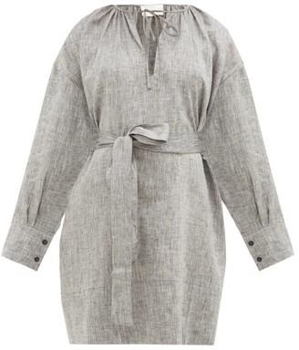 Santorini Asceno Belted Linen Mini Dress - Womens - Grey