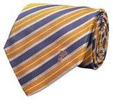 Versace Men's Half Medusa Logo Striped Pattern Silk Neck Tie Orange.