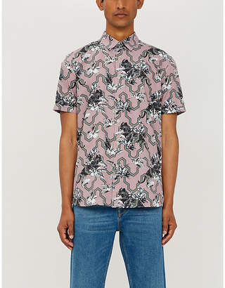 Ted Baker Tiger-print short-sleeved cotton shirt