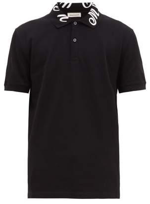 Alexander McQueen Logo-embroidered Cotton Polo Shirt - Mens - Black