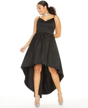 B. Darlin Trendy Plus Size Stretch Taffeta High-Low Gown