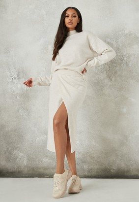 Missguided Recycled Cream Co Ord Split Front Knit Skirt