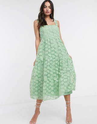 Asos DESIGN lace cami midi prom dress with tie back in sage green