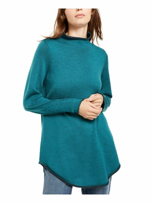 Eileen Fisher Womens Teal Long Sleeve Scoop Neck Tunic Top UK Size:16