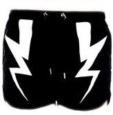 Neil Barrett Black Lightining Bolt Print Swimwear