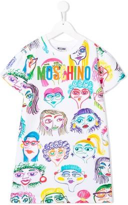 MOSCHINO BAMBINO TEEN faces print T-shirt dress