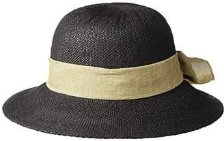 San Diego Hat Company PBM3020 - Concentric Brim Cloche with Linen Bow Trim (Black) Caps