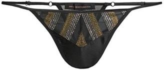 Kiki de Montparnasse Two-Tone Metallic-Trim Lace-Up Thong