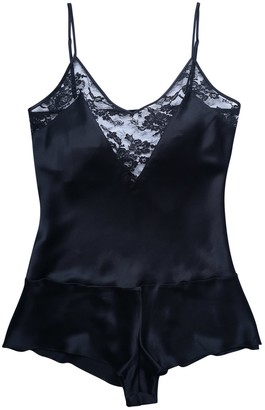 Natalie Begg Silk Playsuit With French Lace Black