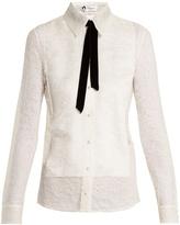 Lanvin Velvet-ribbon Chantilly-lace shirt