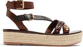 Burberry Malthouse leather platfrom espadrille sandals