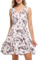 ACEVOG Sleeveless Floral Print Flare Mini Party Evening Dress for Women