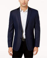 Alfani Men's Slim-Fit Blue and Black Mini Grid Patterned Dinner Jacket, Created for Macy's